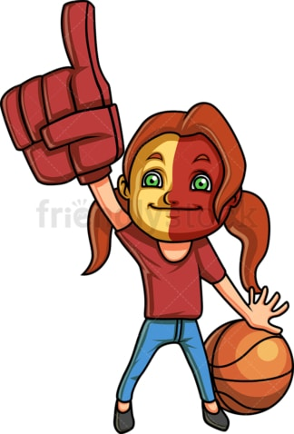 Little girl basketball fan. PNG - JPG and vector EPS (infinitely scalable). Image isolated on transparent background.