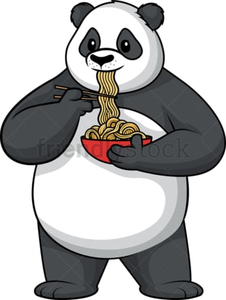 Panda eating noodles. PNG - JPG and vector EPS (infinitely scalable).