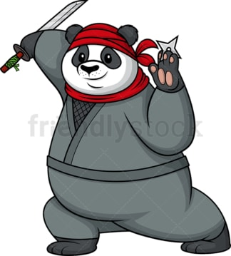 Panda ninja. PNG - JPG and vector EPS file formats (infinitely scalable). Image isolated on transparent background.