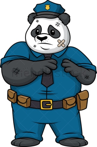 Panda policeman beaten up. PNG - JPG and vector EPS (infinitely scalable).