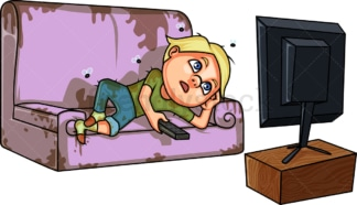 Lazy boy watching tv all day. PNG - JPG and vector EPS (infinitely scalable). Image isolated on transparent background.