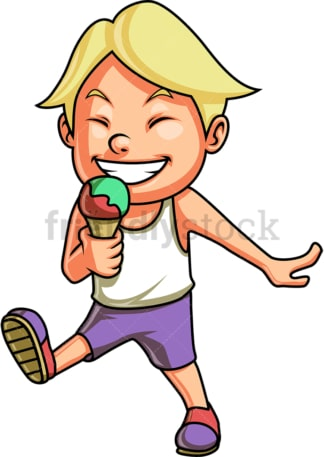 Male kid eating ice cream. PNG - JPG and vector EPS. Isolated on transparent background.