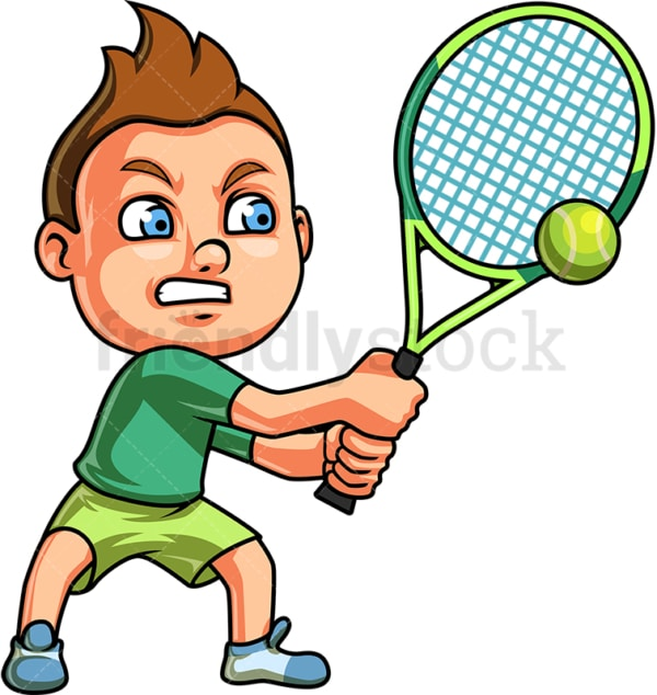Little boy playing tennis. PNG - JPG and vector EPS (infinitely scalable). Image isolated on transparent background.