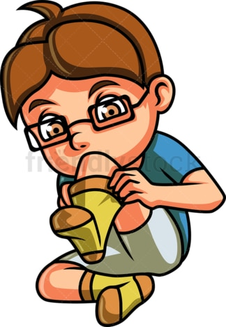 Little boy putting on socks. PNG - JPG and vector EPS file formats (infinitely scalable). Image isolated on transparent background.