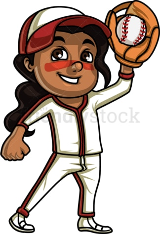 Little girl baseball fan. PNG - JPG and vector EPS (infinitely scalable). Image isolated on transparent background.