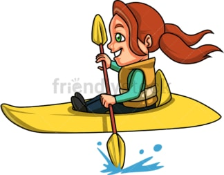 Little girl doing canoe kayak. PNG - JPG and vector EPS (infinitely scalable). Image isolated on transparent background.
