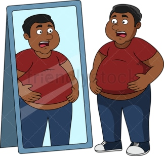 Overweight black man in front of mirror. PNG - JPG and vector EPS file formats (infinitely scalable). Image isolated on transparent background.