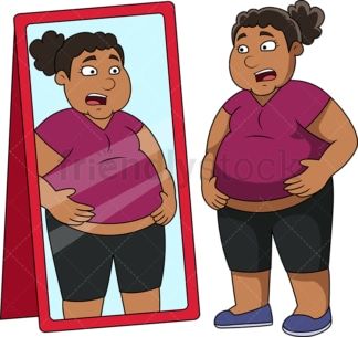 Overweight black woman in front of mirror. PNG - JPG and vector EPS file formats (infinitely scalable). Image isolated on transparent background.