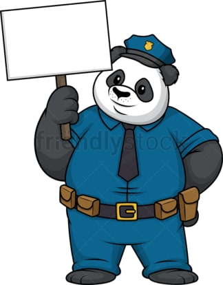 Panda policeman holding empty sign. PNG - JPG and vector EPS (infinitely scalable).