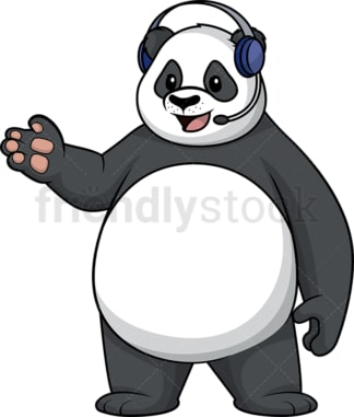 Panda wearing headset. PNG - JPG and vector EPS (infinitely scalable).