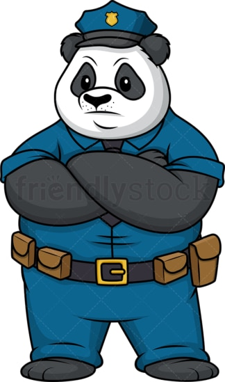 Serious panda policeman. PNG - JPG and vector EPS file formats (infinitely scalable). Image isolated on transparent background.
