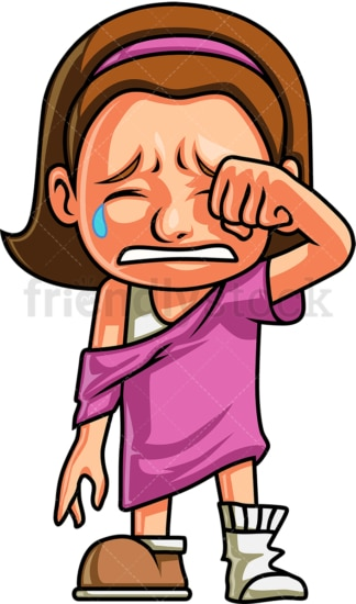 Crying girl wiping away her tears. PNG - JPG and vector EPS (infinitely scalable). Image isolated on transparent background.