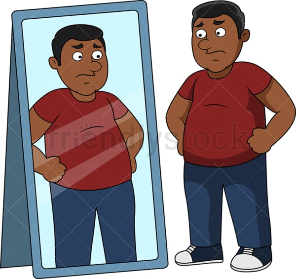 Fat black man in front of mirror. PNG - JPG and vector EPS file formats (infinitely scalable). Image isolated on transparent background.