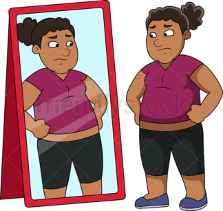 Fat black woman in front of mirror. PNG - JPG and vector EPS file formats (infinitely scalable). Image isolated on transparent background.
