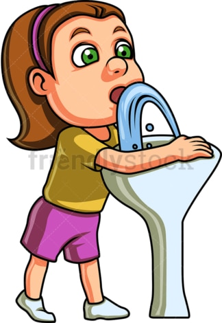 Kid drinks water from drinking fountain. PNG - JPG and vector EPS. Isolated on transparent background.
