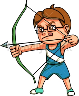Little boy doing archery. PNG - JPG and vector EPS (infinitely scalable). Image isolated on transparent background.