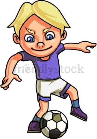 Little boy playing soccer. PNG - JPG and vector EPS (infinitely scalable). Image isolated on transparent background.