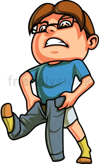 Little Boy Getting Dressed Cartoon Vector Clipart