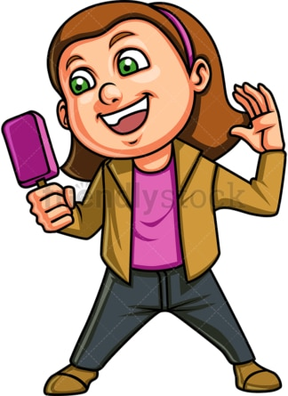 Female kid eating ice cream. PNG - JPG and vector EPS. Isolated on transparent background.