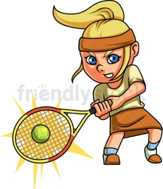 Little girl playing tennis. PNG - JPG and vector EPS (infinitely scalable). Image isolated on transparent background.