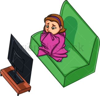 Little girl watching scary movie. PNG - JPG and vector EPS (infinitely scalable). Image isolated on transparent background.