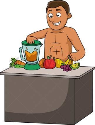 Man making fresh fruit juice. PNG - JPG and vector EPS file formats (infinitely scalable). Image isolated on transparent background.