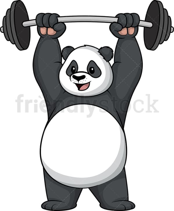 Panda lifting weights. PNG - JPG and vector EPS (infinitely scalable).