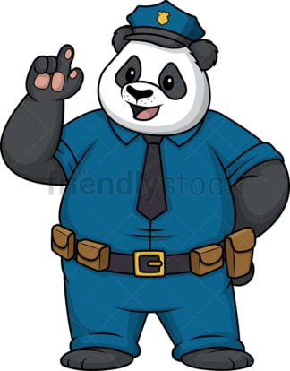 Panda policeman pointing up. PNG - JPG and vector EPS (infinitely scalable).