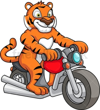 Tiger riding motorcycle. PNG - JPG and vector EPS (infinitely scalable).