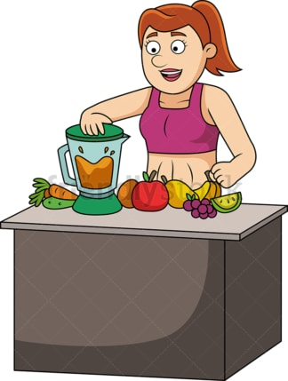 Woman making fresh fruit juice. PNG - JPG and vector EPS file formats (infinitely scalable). Image isolated on transparent background.