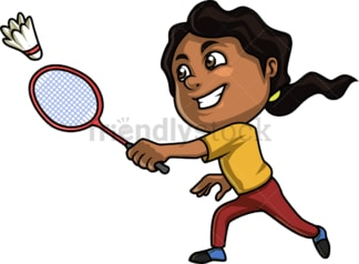 Black girl playing badminton. PNG - JPG and vector EPS (infinitely scalable). Image isolated on transparent background.