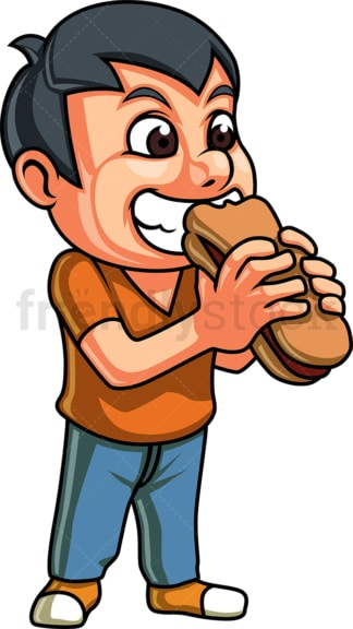 Male kid eating hot dog sandwich. PNG - JPG and vector EPS. Isolated on transparent background.