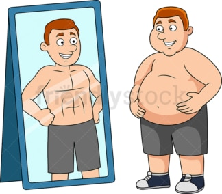 Fat man picturing himself fit. PNG - JPG and vector EPS file formats (infinitely scalable). Image isolated on transparent background.