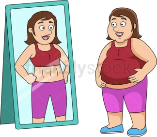 Fat woman picturing herself fit. PNG - JPG and vector EPS file formats (infinitely scalable). Image isolated on transparent background.