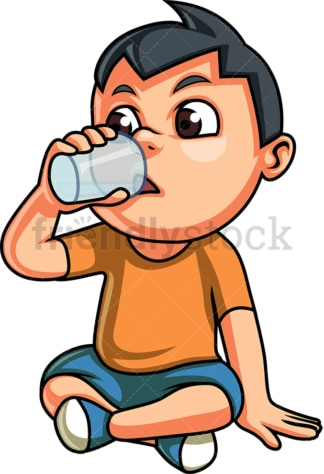 Little boy drinking water. PNG - JPG and vector EPS. Isolated on transparent background.