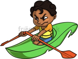 Little boy canoeing. PNG - JPG and vector EPS (infinitely scalable). Image isolated on transparent background.
