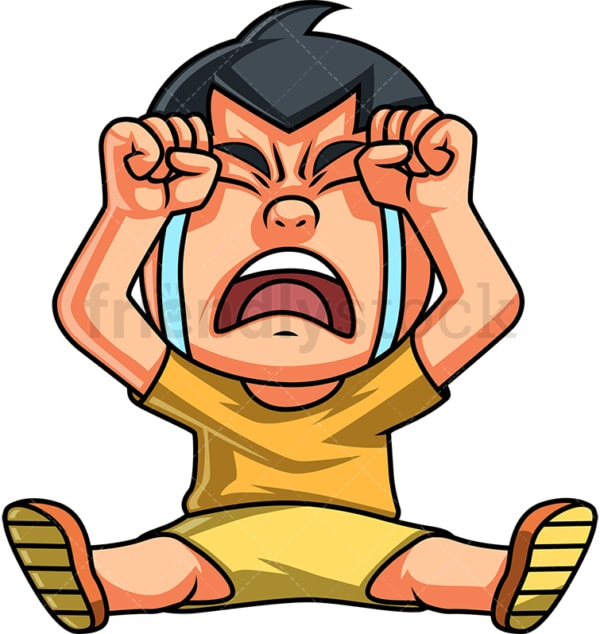 Little boy crying out loud. PNG - JPG and vector EPS (infinitely scalable). Image isolated on transparent background.