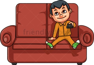Little boy watching television. PNG - JPG and vector EPS (infinitely scalable). Image isolated on transparent background.