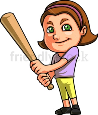 Little girl playing baseball. PNG - JPG and vector EPS (infinitely scalable). Image isolated on transparent background.