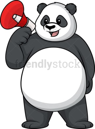 Panda holding megaphone. PNG - JPG and vector EPS (infinitely scalable).