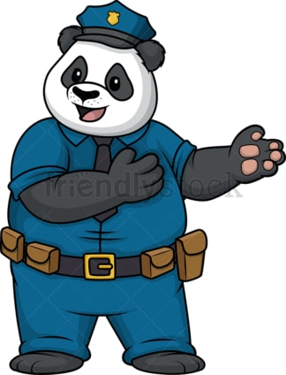 Panda policeman pointing sideways. PNG - JPG and vector EPS (infinitely scalable).