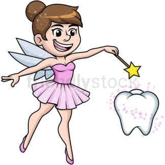 Tooth fairy casting magic spell. PNG - JPG and vector EPS (infinitely scalable).