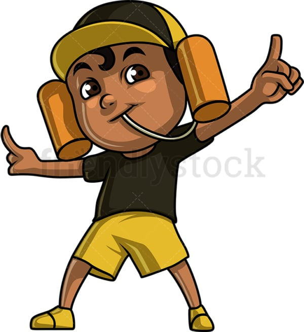Black boy sports fan. PNG - JPG and vector EPS (infinitely scalable). Image isolated on transparent background.