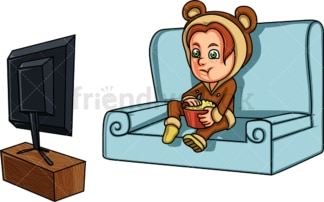 Girl watching a movie on the tv. PNG - JPG and vector EPS (infinitely scalable). Image isolated on transparent background.