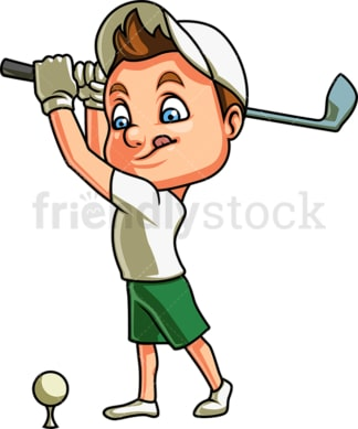Little boy playing golf. PNG - JPG and vector EPS (infinitely scalable). Image isolated on transparent background.