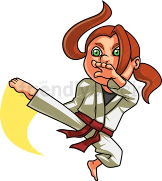 Little girl doing karate kick. PNG - JPG and vector EPS (infinitely scalable). Image isolated on transparent background.