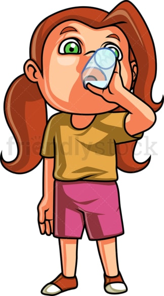Little girl drinks water. PNG - JPG and vector EPS. Isolated on transparent background.