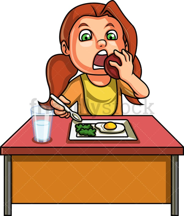 Female kid eating healthy breakfast. PNG - JPG and vector EPS. Isolated on transparent background.