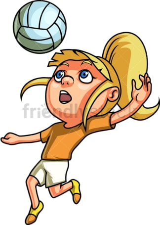 Little girl playing volleyball. PNG - JPG and vector EPS (infinitely scalable). Image isolated on transparent background.