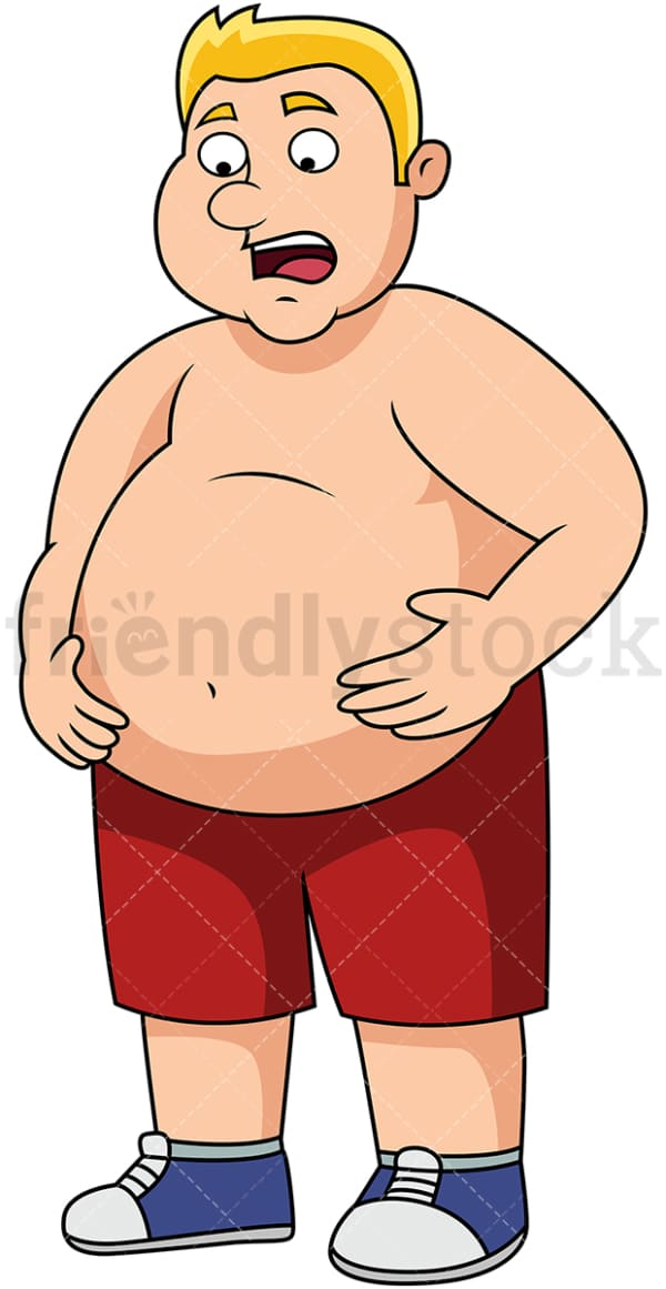 Overweight man with big belly. PNG - JPG and vector EPS file formats (infinitely scalable). Image isolated on transparent background.